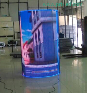 Customized P10 Full Color Cylinder LED Display with High Brightness (DIP346)